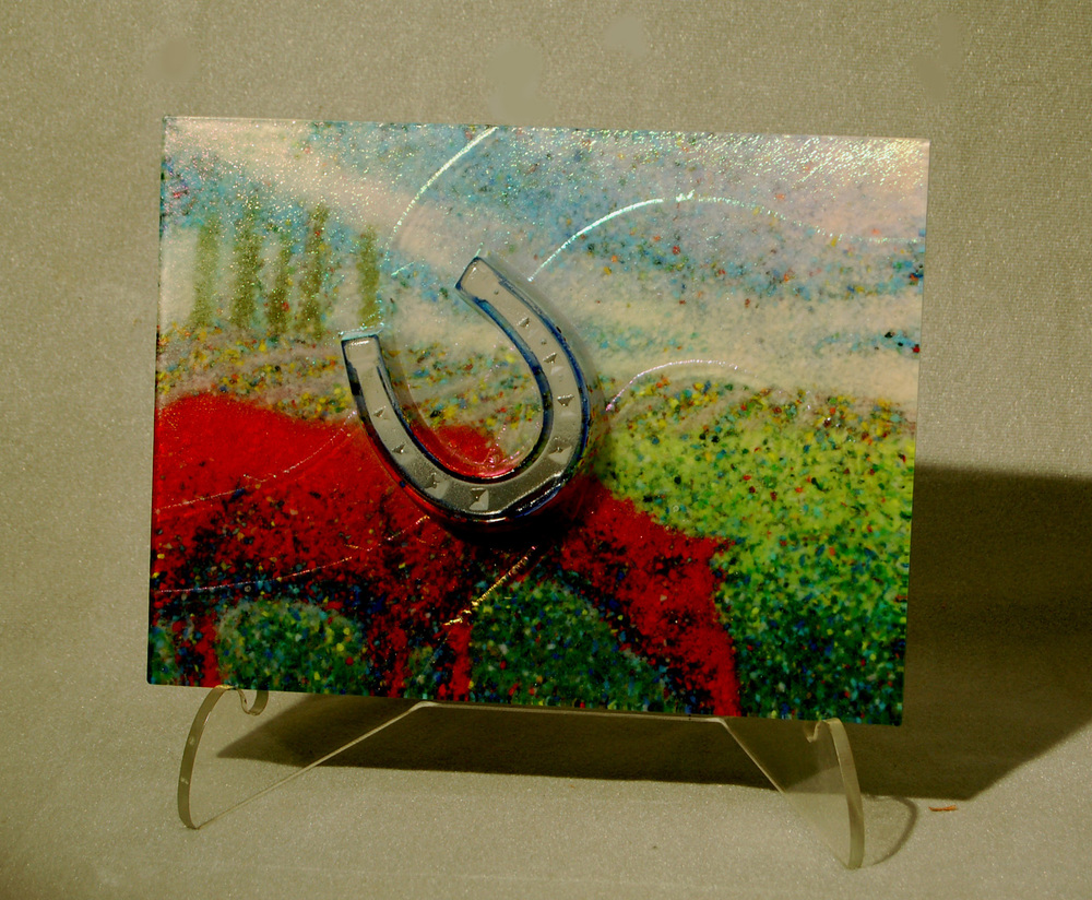 "Pastoral, 9"" x 16"" x 3.5"" Fused & cast glass"