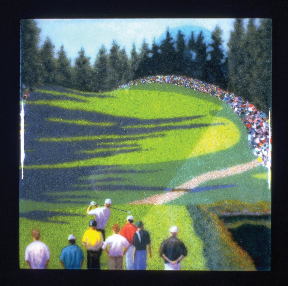 "18th Hole, 18"" x 24"", fused glass"