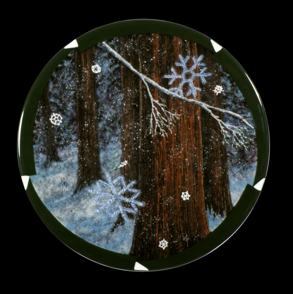 "Redwood Winter, 18"" diameter, fused glass"