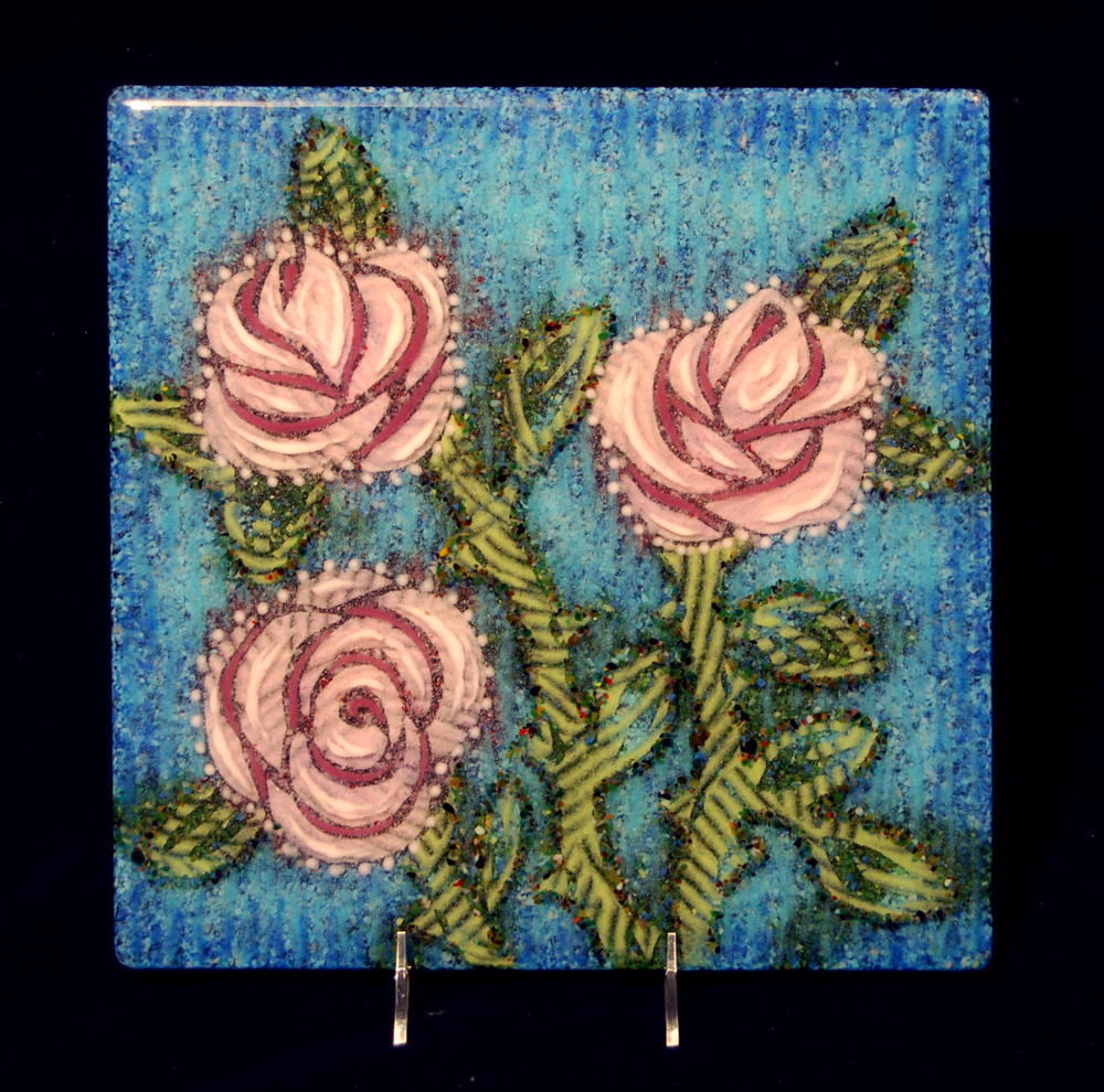 """Pink Roses, 12"""" x 12"""""""