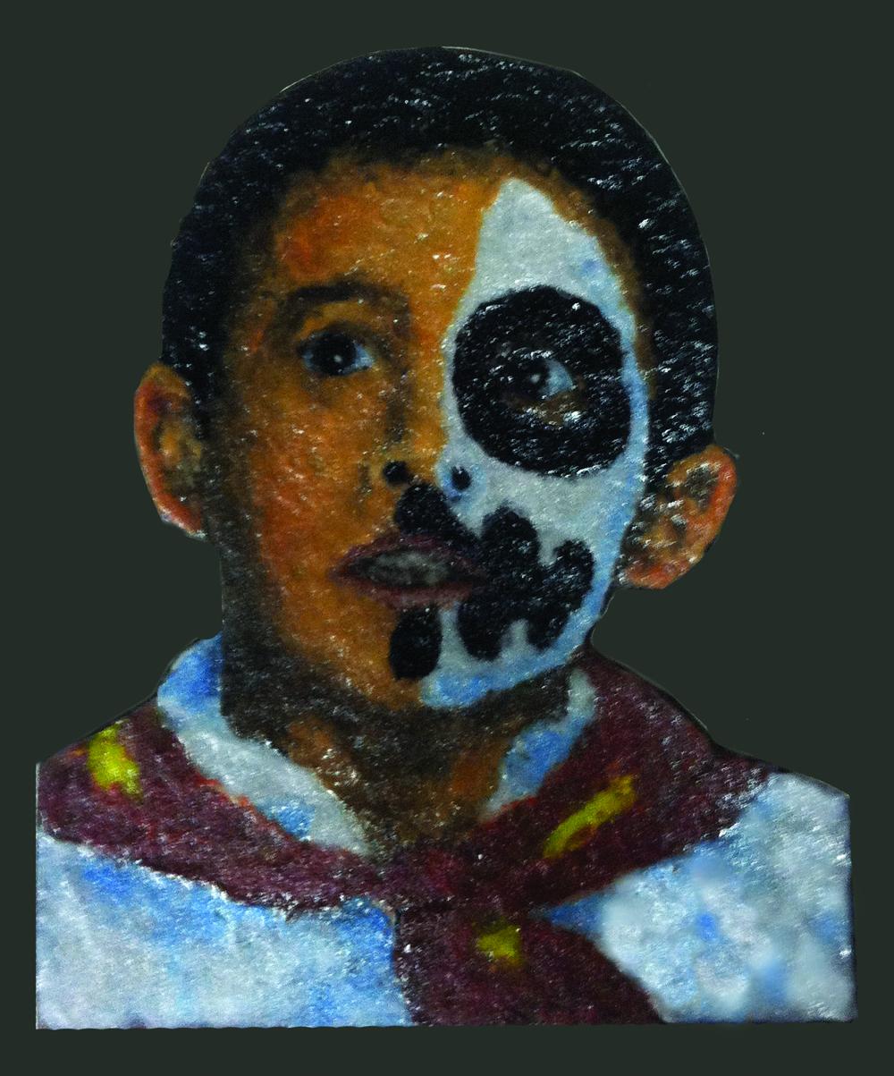 "El Nino de Dia de los Muertos, 8.5"" x 11"", Palette knife glass"