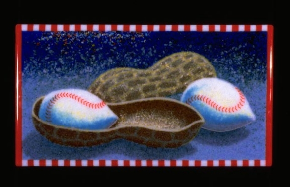 "Baseball Nut, 12"" x 22"", Fused glass"
