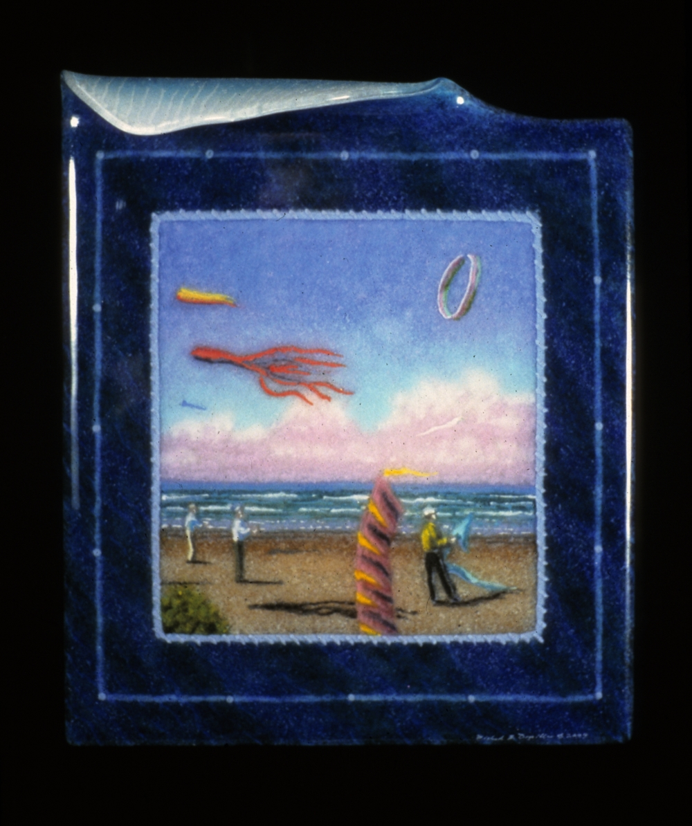 "Pacific Kite Fest # 2, 12"" x 10"", fused and slumped glass"