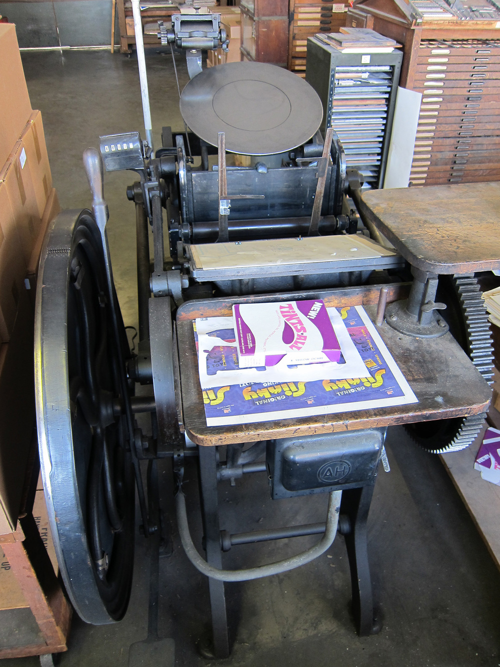 Hand-fed motorized Chandler & Price 8x12 old-style press, my great-grandfather's first