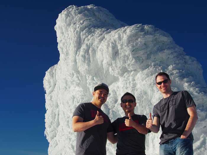 Yohei Ishii (left), Founder and CEO of TURBO, Nexon Founder Jay Kim (center), and TURBO Advisor Alex Iosilevich (right) reppin' TURBO while conquering the glaciers of Iceland