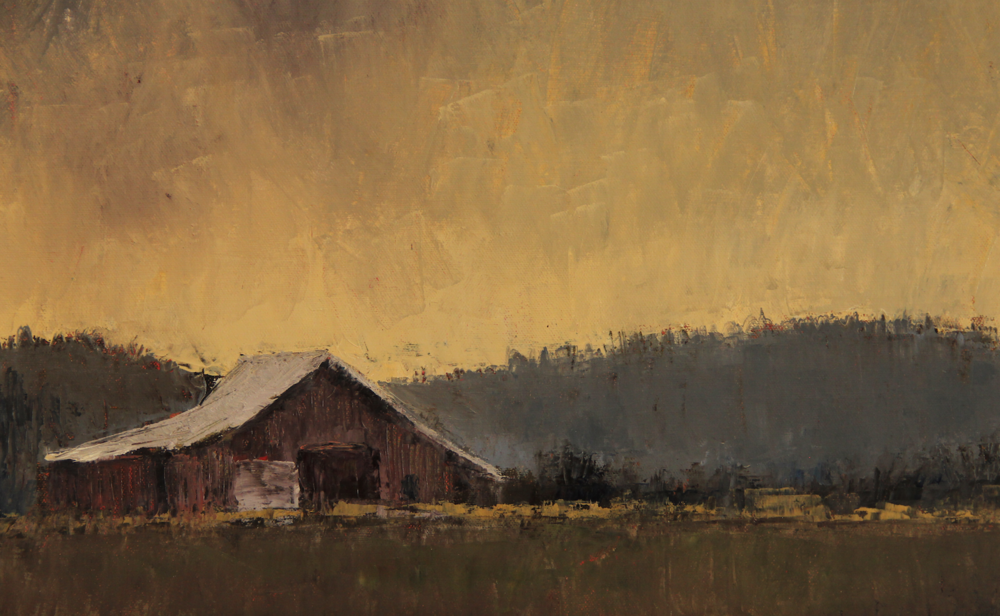 A palette knife painting of a Skagit barn in moody evening light. Available through Scott Milo Gallery.