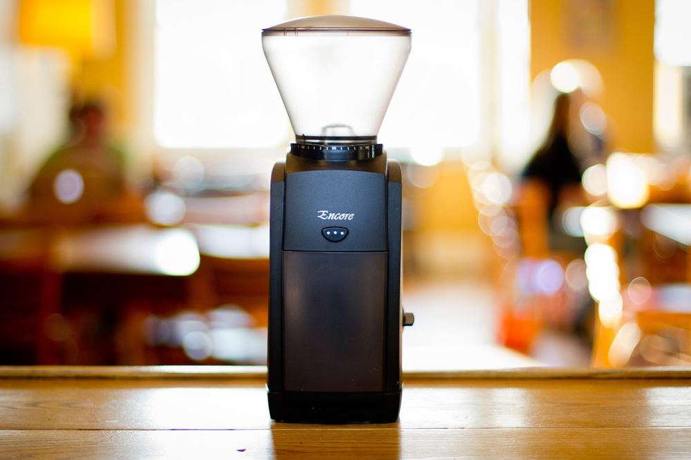 The Baratza Encore electric burr grinder.