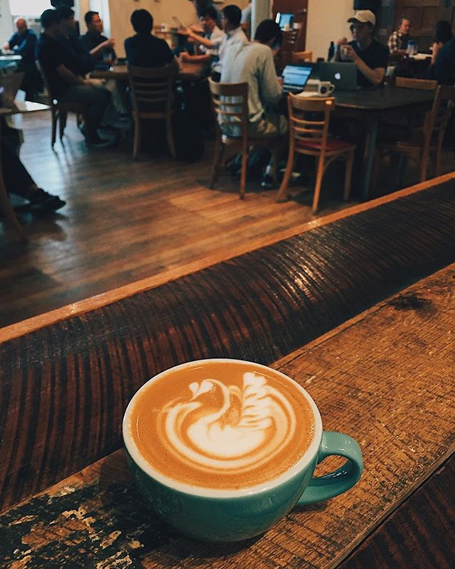 rainy days aren't so bad • • thanks for braving some pretty gross weather to hang with us today. we'll be pouring liquid encouragement for you all day to help brighten this gray day up a bit. • • #vsco #rohsstreet #vsocam #keatonkapps #latteart #cincycoffee #coffeeshop #coffee #cappuccino