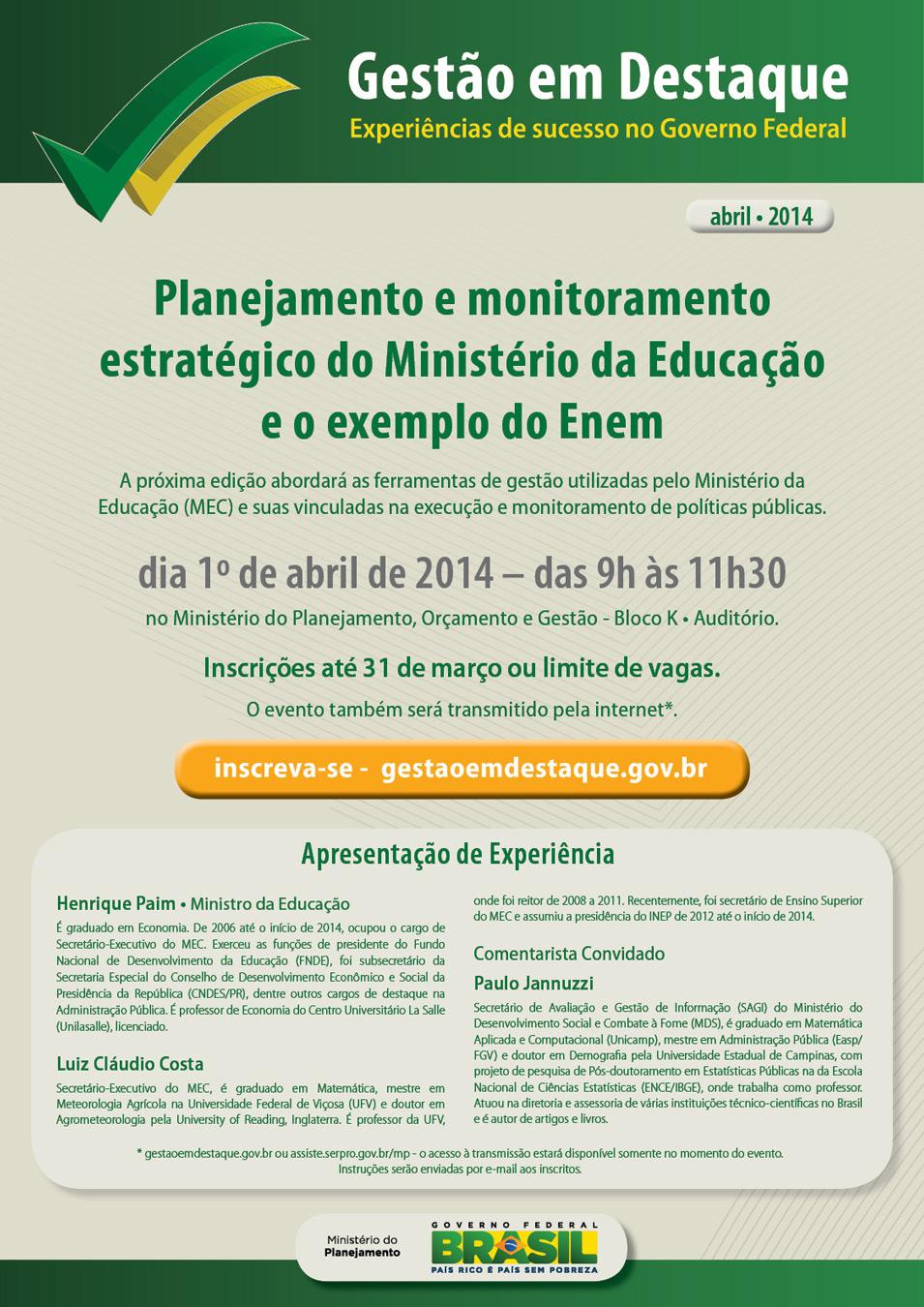 Imagem: Divulgação / Ministério do Planejamento