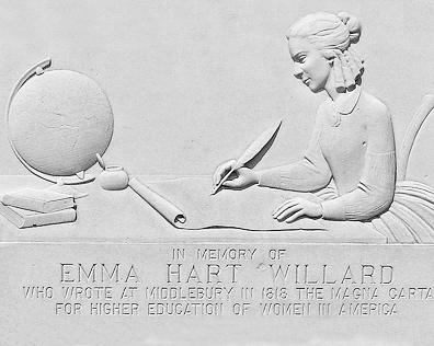 Emma Hart Willard, nascida em 1787, em Berlin, é uma das pioneiras na luta pelos direitos das mulheres. O Emma Hart Willard Memorial foi erguido em 1941 e faz parte do distrito histórico de Middlelbury, em Vermont, nos Estados Unidos. Foto: Don Shall