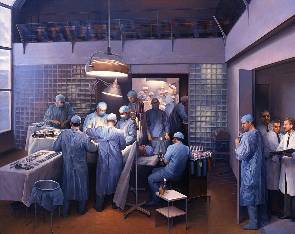 Óleo sobre tela, de Joel Babb,  First Successful Organ Transplant , 1996