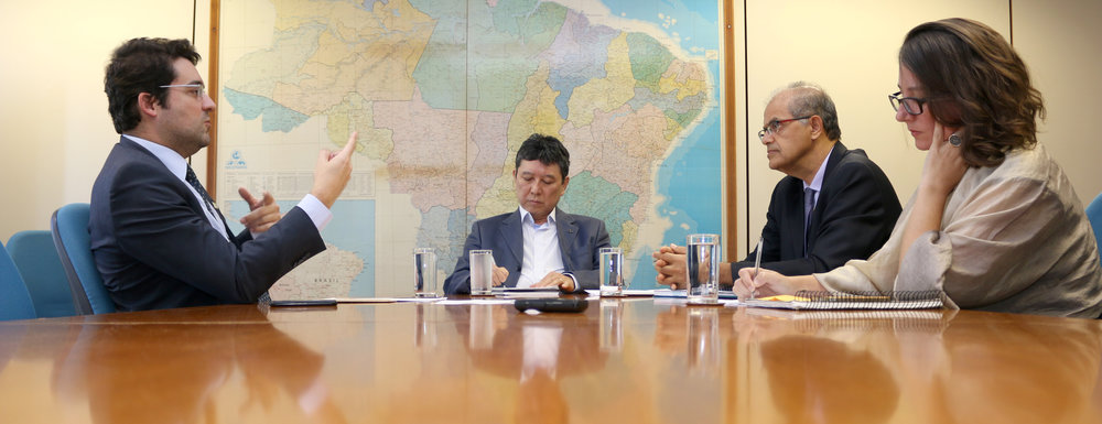 Presidente da ANESP,Alex Canuto, Secretário de Relações de Trabalho, Augusto Chibas, e os coordenadores José Filho e Jane Mendonça. Foto: Filipe Calmon / ANESP