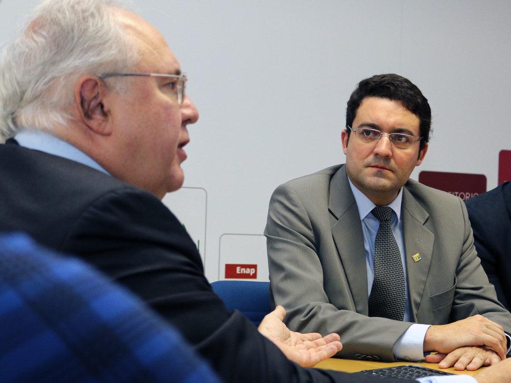 Os Presidentes da Enap, Francisco Gaetani, e da ANESP, Alex Canuto. Foto: Filipe Calmon / ANESP
