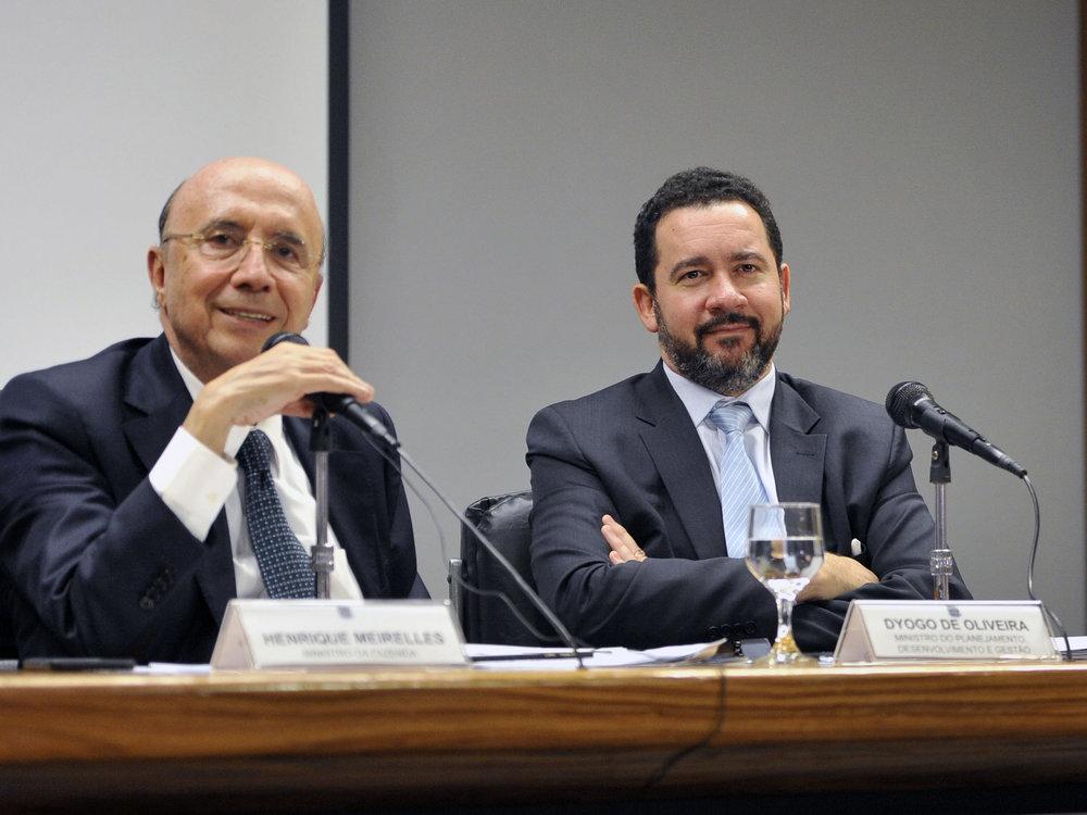 Ministro da Fazenda, Henrique Meirelles ao lado do EPPGG Dyogo Oliveira, Ministro do Planejamento Foto: MP