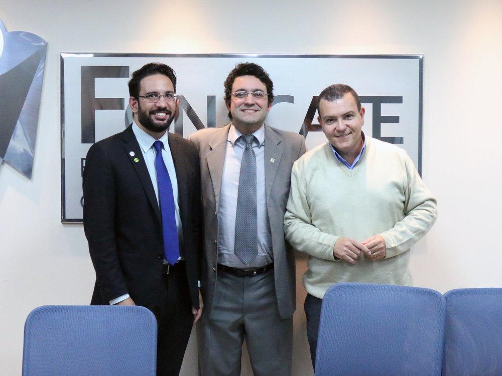 Eduardo Aires, Presidente eleito, Alex Canuto, ex-Presidente, e João Aurélio, primeiro Presidente da Fenagesp.