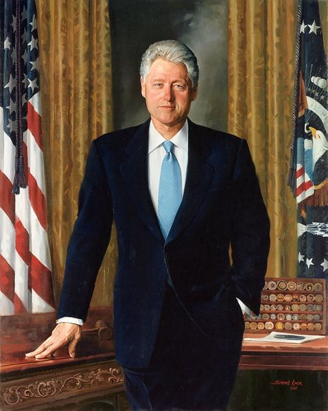 President Bill Clinton's official portrait portrays his collection which he received from U.S. service members.