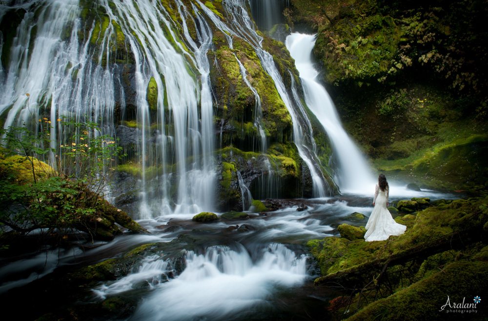 Waterfall Wedding Bride - Panther Creek Falls- Aralani Photography - Ara Roselani