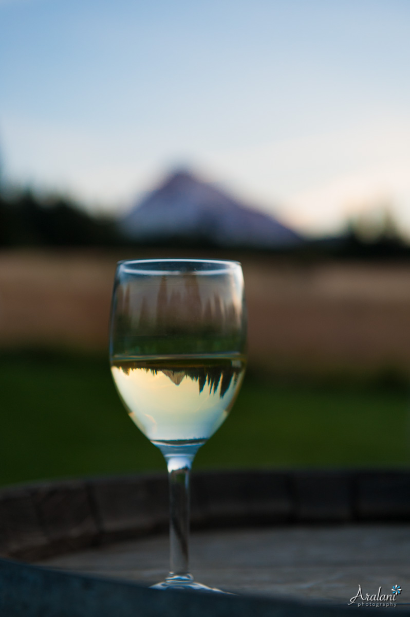 Mt. Hood Reflecting in Wine Glass - Aralani Photography - Ara Roselani