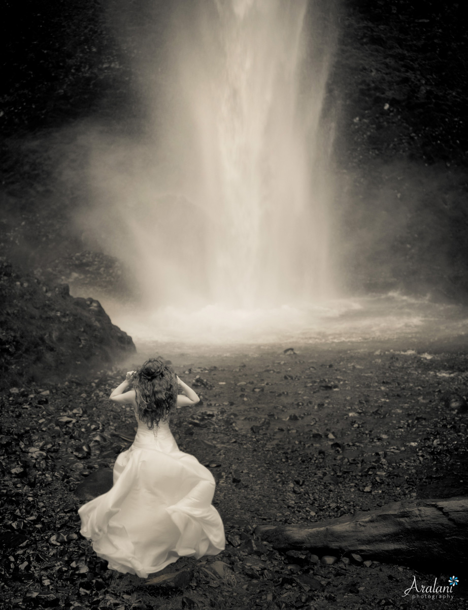 Waterfall Bride Columbia River Gorge Latourell Falls - Aralani Photography - Ara Roselani