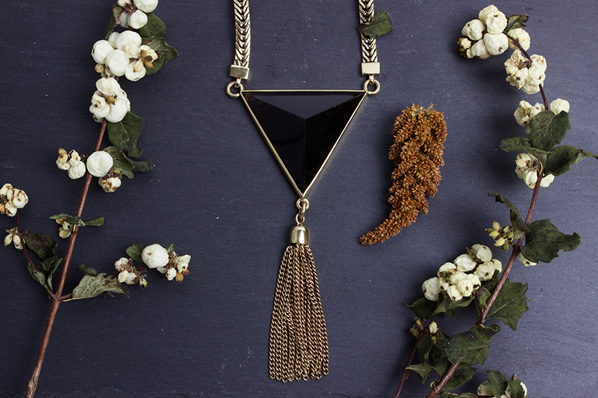"ManiaMania ""Magick"" Necklace in Smokey Quartz and Brass - $320"