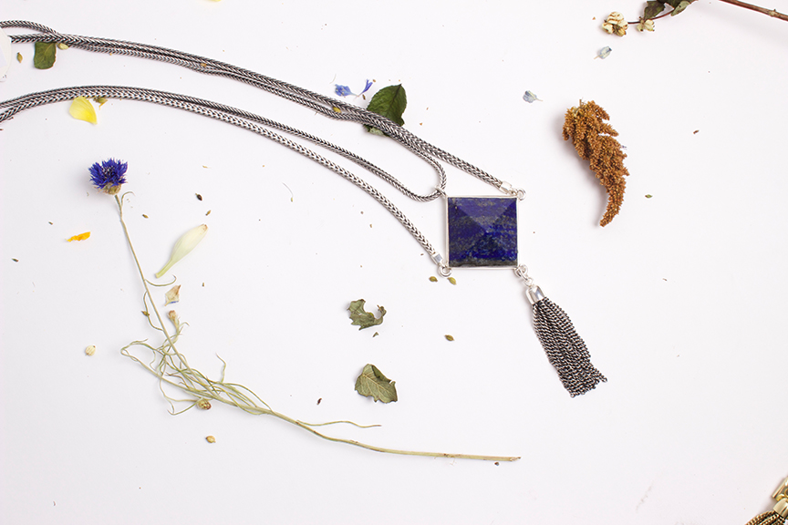 "ManiaMania ""Noir"" Necklace in Silver Plate and Lapis - $340"