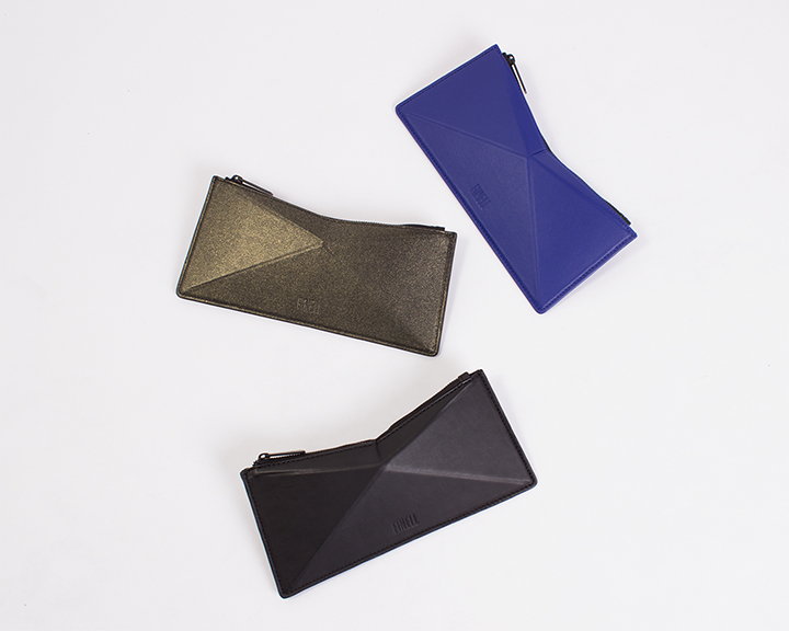 "FINELL  ""Versus"" Zipper Pouch in Cobalt, Black/Gold and Black - $165"