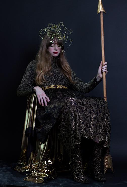 MORTON MYLES 80s Gold Party Dress - $110 size S, MARY MCFADDEN 80s Lace Evening Dress - $195  size M (Layered Under), VINTAGE 80s Belt.