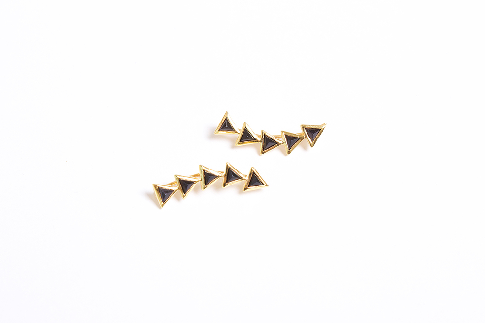 Katie Diamond  18K Gold Kora Ear Climbers in Black Garnet $225