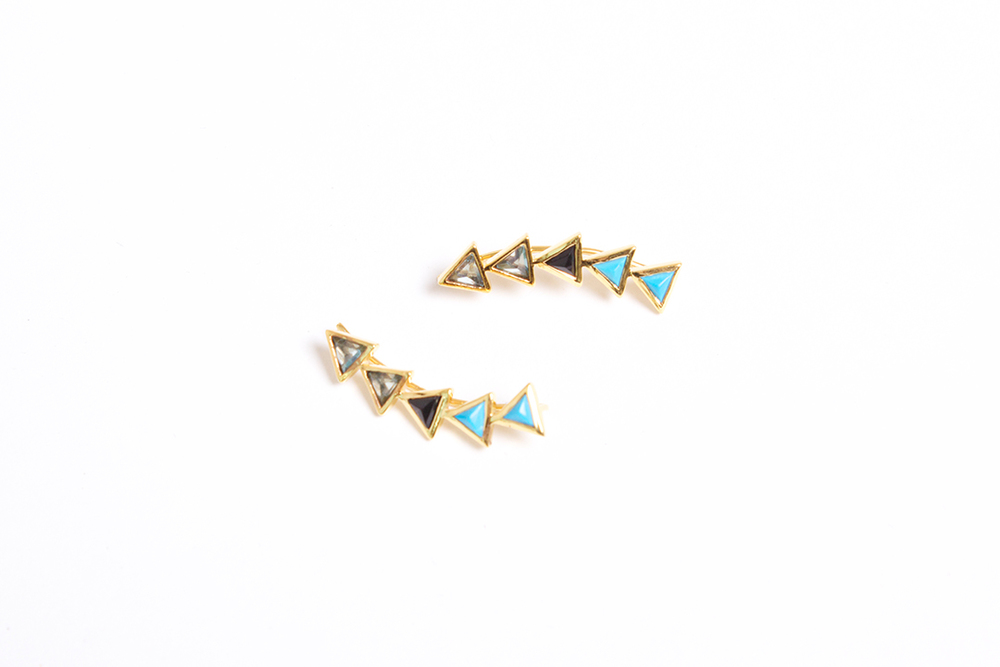 Katie Diamond  18K Gold Kora Ear Climbers in Turquoise, Black Garnet and Apatite $225 To purchase, just give us a call!