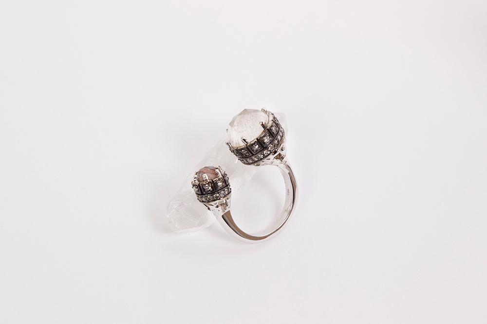 MANIAMANIA Immortalia Mineralia Ring in Sterling Silver With Rutile Quartz, Rose Cute Smokey Quartz and Pave White Diamonds size S/M and M/L Available - $3900