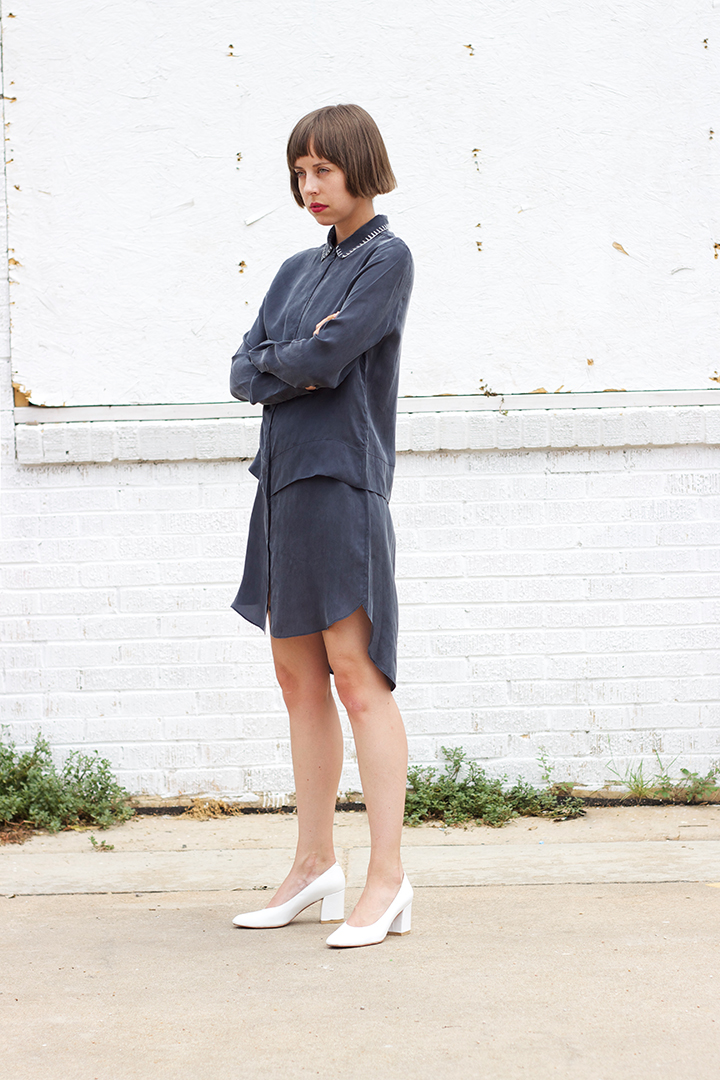 7115 by SZEKI   Stitched Collar Shirt Dress in Navy $230 (sizes XS,S,M,L available).