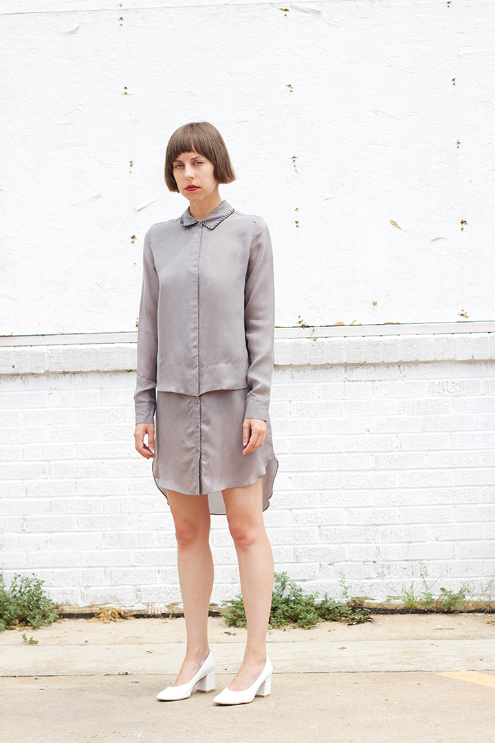 7115 by SZEKI   Stitched Collar Shirt Dress in Gray $230 (sizes XS,S,M,L available).