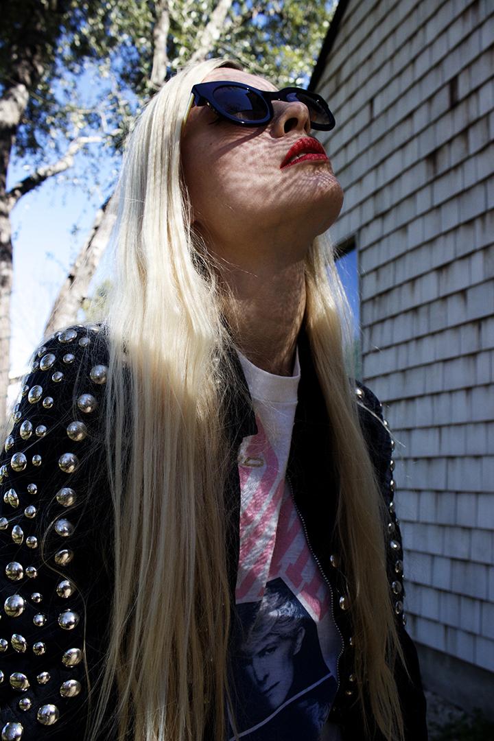 Rachel Pychinzska shot by Katy Shayne. Style by Masha Poloskova featuring Vintage 70s Roncelli Jacket.