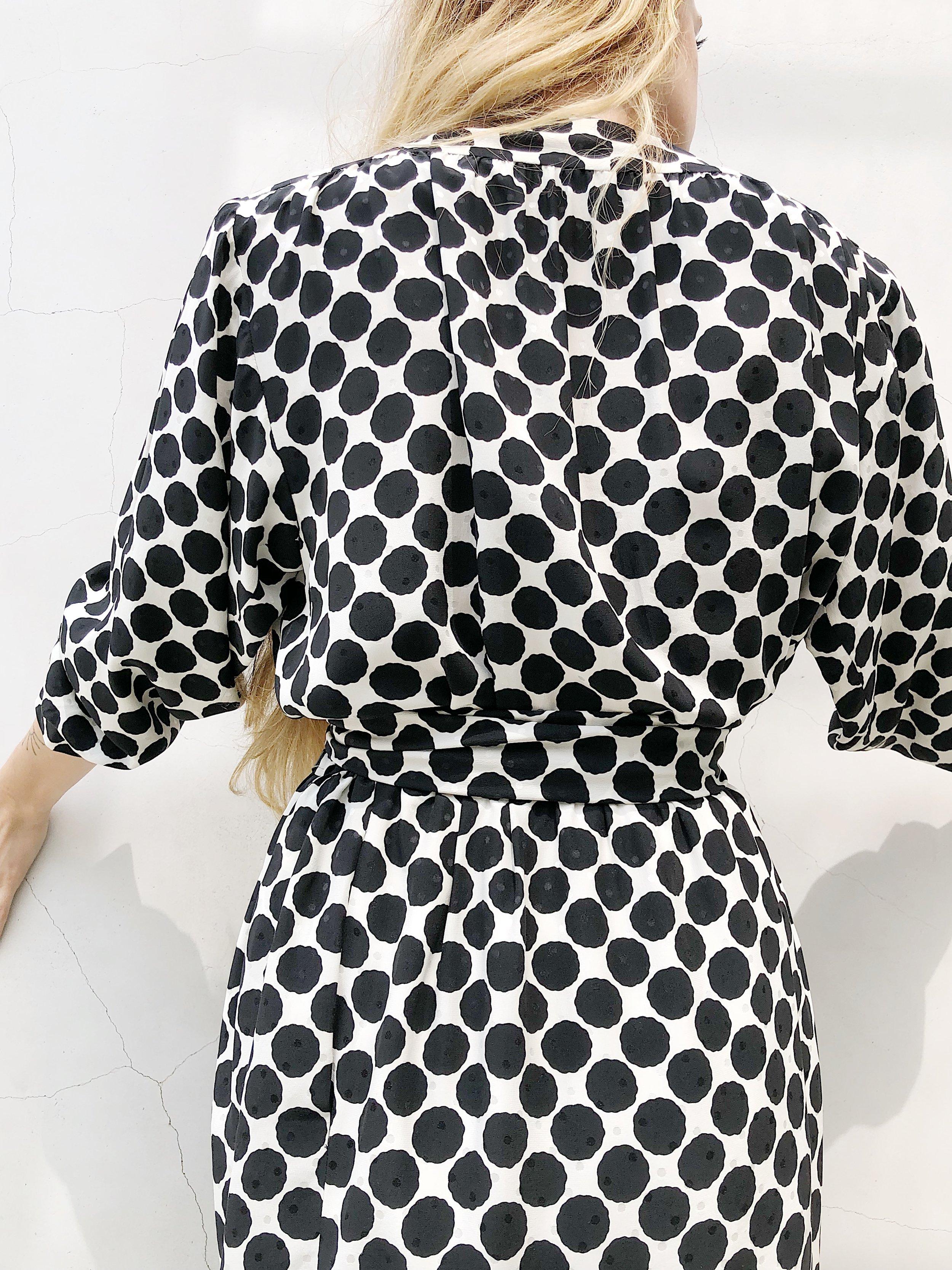 Silk Black + White Polka Dot Wrap Dress