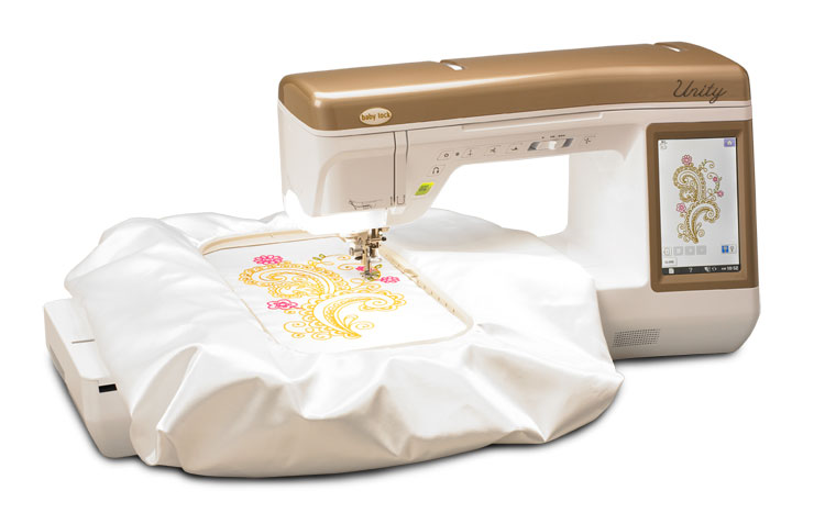 "Your sewing and embroidery journeys become one with the Baby Lock Unity. A sizeable, 7"" x 12"" embroidery hoop opens the door to larger embroidery designs. Plus, numerous innovative features powered by Baby Lock IQ Technology™. Precision-dedicated, IQ powered features, such as the Digital Dual-Feed System and the Sensor Pen make sewing and embroidery easier. Effortlessly blend your love of sewing and embroidery with the Baby Lock Unity. WATCH THE UNITY VID"