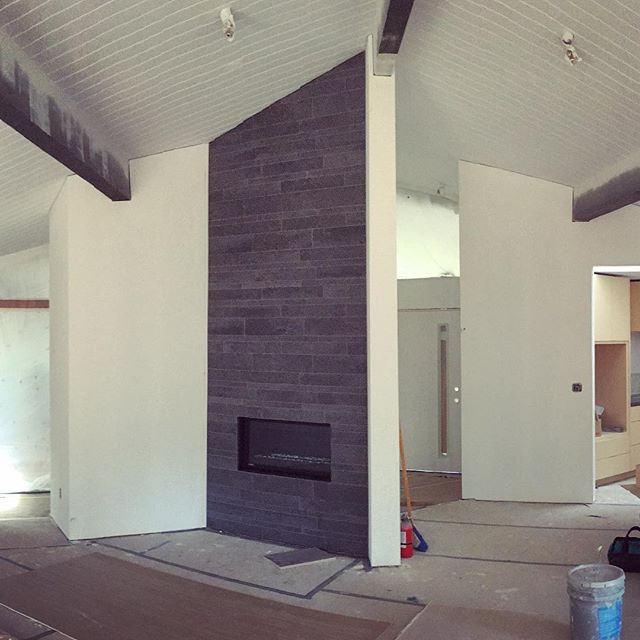 #blredwoodhouse #fireplace in progress #midcentury high contrast