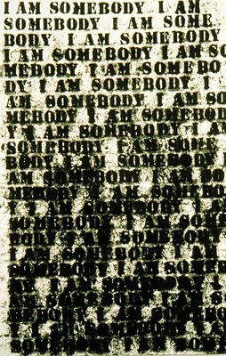 Glenn Ligon -   I Am Somebody,   oil stick on canvas, 1991