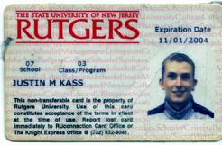Artifact #6 - Artist's student ID card from 1999-2004.