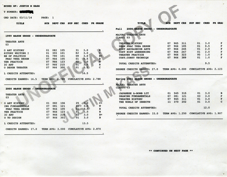 Artifact #7 - Artists's Unofficial Undergraduate Transcript, 1999-2002.
