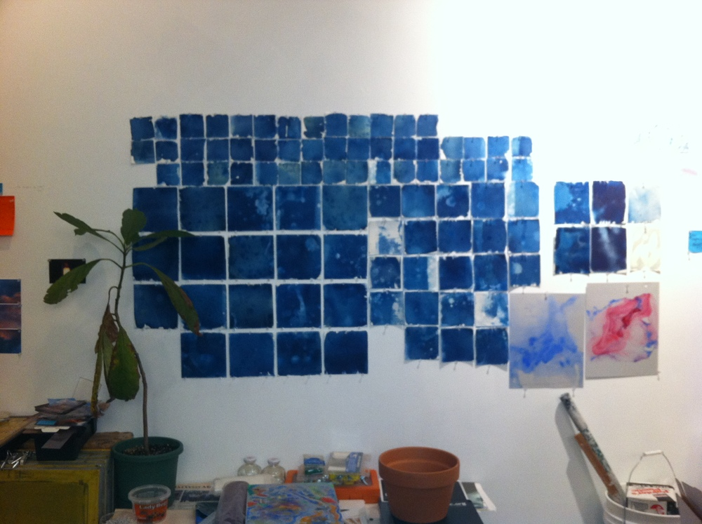 Abstract cyanotypes from my printmaking residency in Venice.