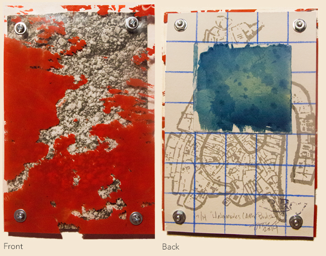 "Watermarks (After Brodsky) 1 Photopolymer Etching on Rives BKF, Silkscreen on mylar, Silkscreen, Cyanotype, Screws/Nuts/Washers, Colored Pencil Approx. 5.25"" x 7.25"" Edition of 14 Completed Summer 2014"