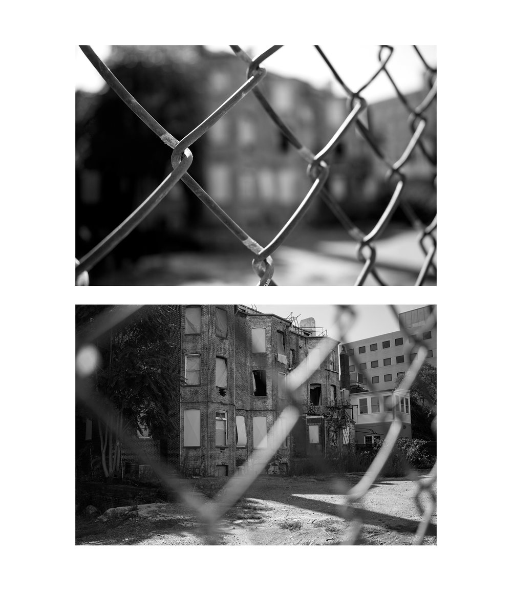 Above: Alvaro Bustamente George Mason University School of Art AVT 253 - Introduction to Digital Photography Project: Black and White 2015 Note: This student wanted to explore the barriers of experience when dealing with a site that was personal to him.