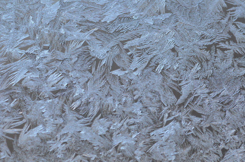 Close-up of the frost on the conference room windows.