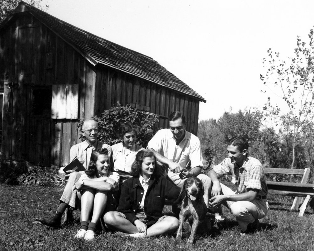 "Aldo Leopold and his family at ""the shack"" in Baraboo, WI."