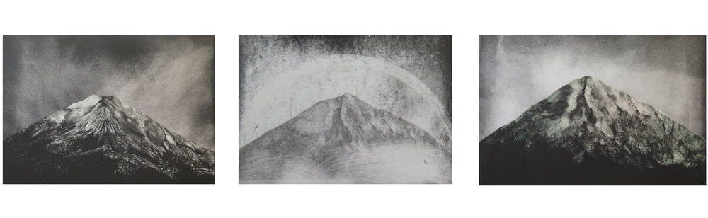 "The earth and its rocks. Monotypes 4""x6"" 2015"