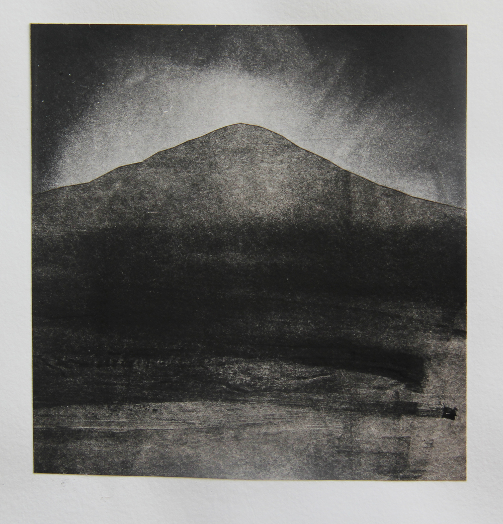 "Striped Mountain, CA  Monotype 11""x14"" 2015"