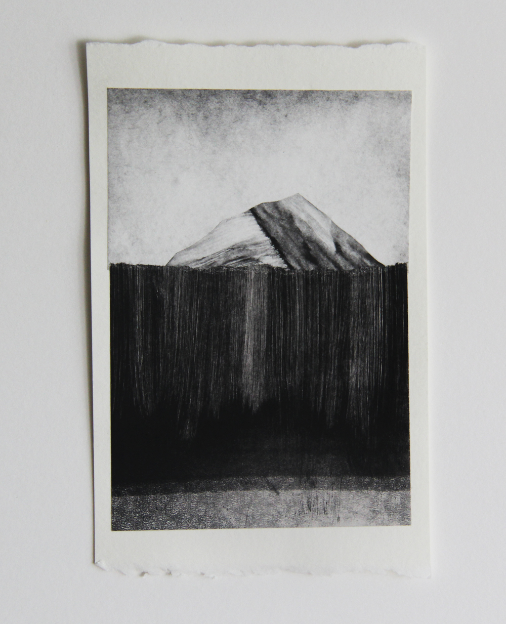 "Glacier Ridge, CA  Monotype 4""x7"" 2015"