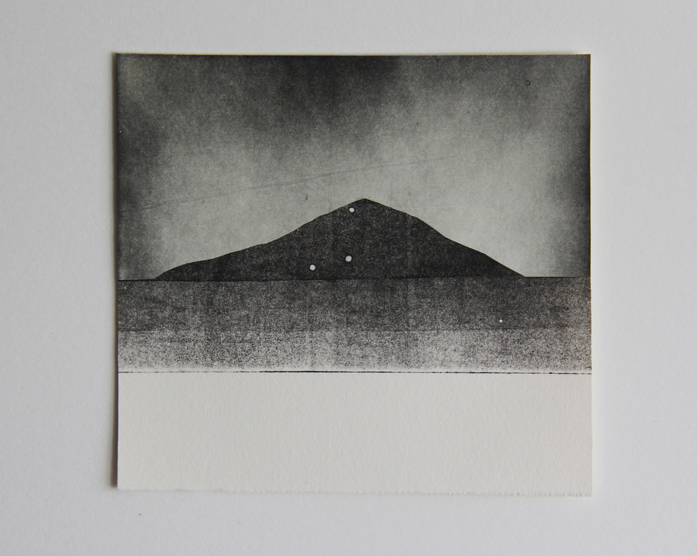 "Sawtooth Peak  Monotype 5""x6"" 2015"