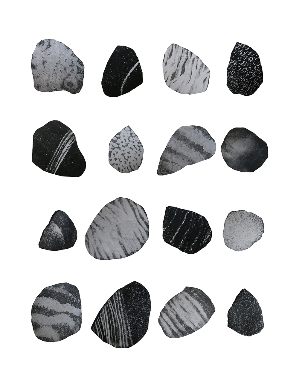 "Stones from Independence, CA  Monotype 11""x14"" 2015"