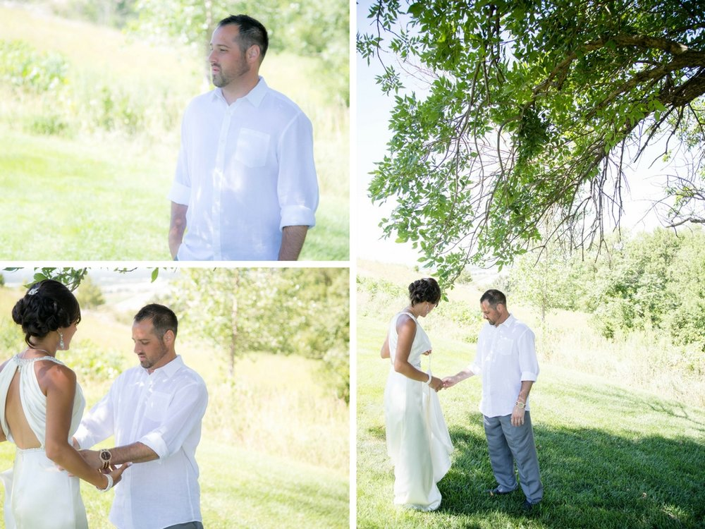 It's hard to pick just one image for the first look when the groom's face says so much at once!